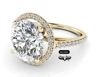 Round Brilliant Cut Moissanite Engagement Ring Trek Quality #1 D-E or G-H Color VVS Clarity set in 14kt Yellow Gold  #7124