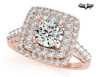 Moissanite Engagement Ring 14kt Rose Gold, Trek Quality #1, Wedding Ring, Side Moissanites, Double Square Halo  #7186