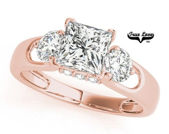 2.30 Carat 7.50mm Princess Cut Trek Quality #1 Moissanite.  Brand: True Love Engagement Ring 14kt Rose Gold,   Past Present Future #7483