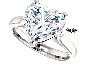 Lay Payment one of six for Camilla Moissanite Engagement Ring  3.70 Carat Heart Cut Solitaire 14 kt White Gold, #6822