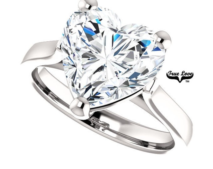 Featured listing image: Moissanite Engagement Ring .80,1.20,1.80,2.70,or 3.70 Carat Heart Cut Solitaire 14 kt White Gold, #6822