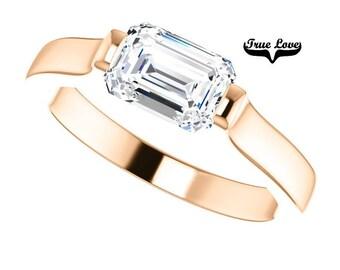 Moissanite Engagement Ring 14kt Rose Gold, Wedding Ring, Emerald Cut Moissanite, Solitaire #7785