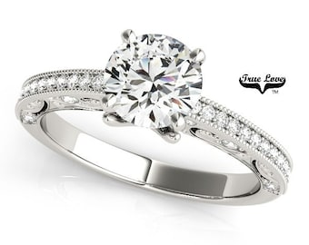 Moissanite Engagement Ring 14kt White Gold, Trek Quality #1, Wedding Ring, Pave Set Moissanites, Side Moissanites  #7523