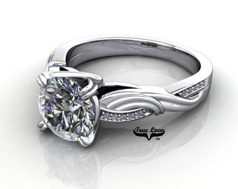 Moissanite Engagement Ring 14kt White Gold, Forever One, Wedding Ring #7845