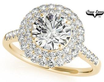 Moissanite Engagement Ring 14kt Yellow Gold, Double Halo, Side Moissanites #7208