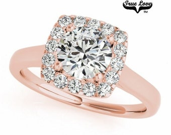 Moissanite Engagement Ring 14kt Rose Gold, Trek Quality #1, Wedding Ring, Square Halo #7213