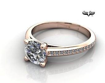 Moissanite Engagement Ring 14kt Rose Gold, Trek Quality #1, Wedding Ring, Side Moissanites #7006
