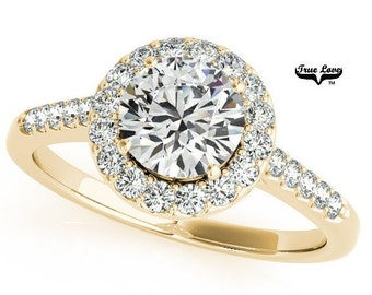 Moissanite Engagement Ring,Trek Quality #1 D-E Color  VVS Clarity,one Carat Center Halo and side Stones 14kt Yellow Gold Wedding Ring #6883