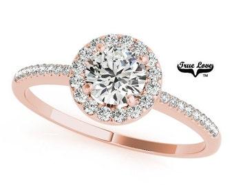 14 kt. Rose Gold Halo set Moissanite Engagement Ring ,Trek Quality #1 D-E Color  VVS Clarity,one Carat Center,Side Moissanites #7250