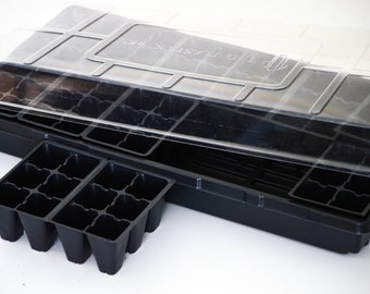 Seed Starting Greenhouse Kit, 72 Cells, Solid Seed Tray, Jiffy Dome Lid, 12 6pks