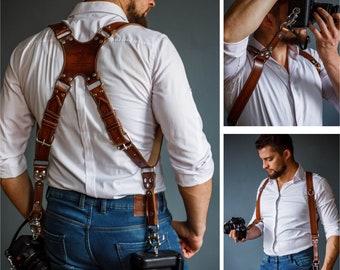 Multi camera straps, Leather camera harness, Dual Cameras Strap, Photographer Harness, leather camera strap