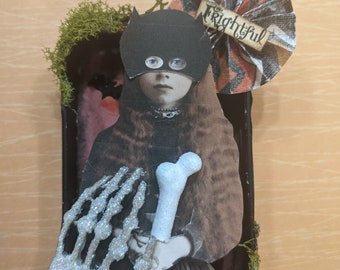 Halloween Masked Girl ~ Frightful ~ Ornament  Diorama  Altoid tin art