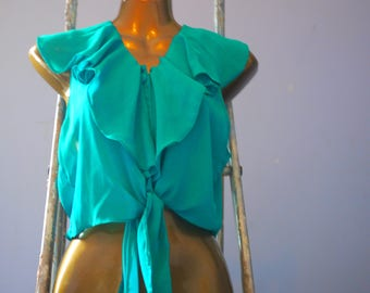Green, size 13 front button blouse with waist ties