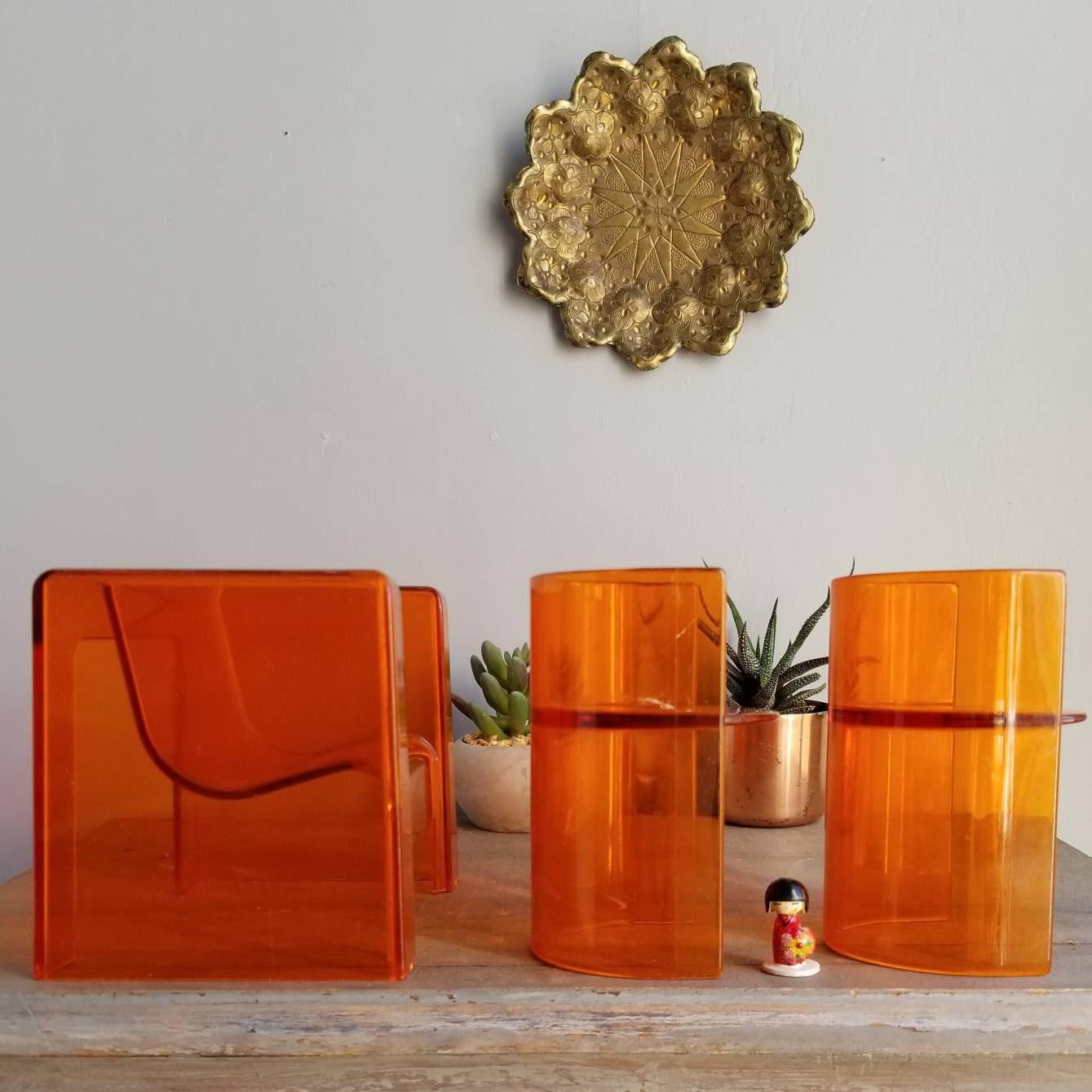 Orange Barbie Furniture, 1970s, Clear Lucite Plastic Doll