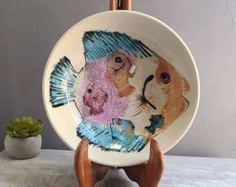 """Mei Ming Ware Fish Bowl, Hand Painted Pink and Blue Art Pottery, 1988, Signed by Artist Palmer, from Santa Fe, NM 8"""" Diameter Animals & Co"""