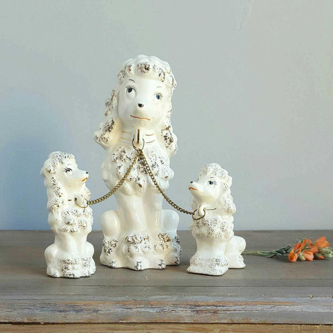 Vintage Poodle Figurine Momma With Two Puppies On Chain