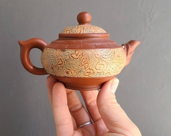 Miniature Yixing teapot, Brown Clay with Tri-colored Swirl Design, 4 oz Capacity, Vintage Chinese Ceramic Tea Pot with Marbled Bisque