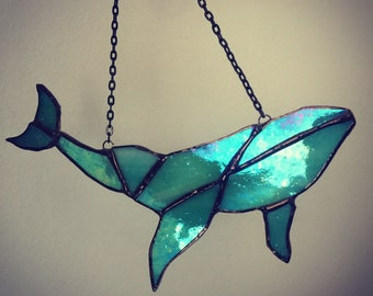 Sea Whale Humpback Stained Glass Window Hangings Car Sun Catcher Interior Props Decorations Glass Art