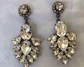 Clear Swarovski crystal teardrop Statement Earrings, gunmetal settings, wedding earrings, bridal earrings, matte black settings, chandelier
