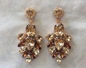 Blush Swarovski Crystal Statement Earrings, Rose gold, wedding earrings, bridal earring, teardrop earring, blush wedding, chandelier earring