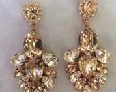 Rose Gold Morganite Swarovski Crystal Statement Earrings, wedding earrings, bridal earrings, teardrop earrings, chandelier earrings
