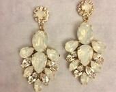 White Opal Swarovski Crystal Statement Earrings, wedding earrings, bridal earrings, teardrop earrings, chandelier earrings, white wedding