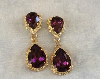 Amethyst Purple Swarovski Twin Teardrop Earrings, wedding earrings, bridal earrings, amethyst earrings, purple wedding, bridesmaid earrings
