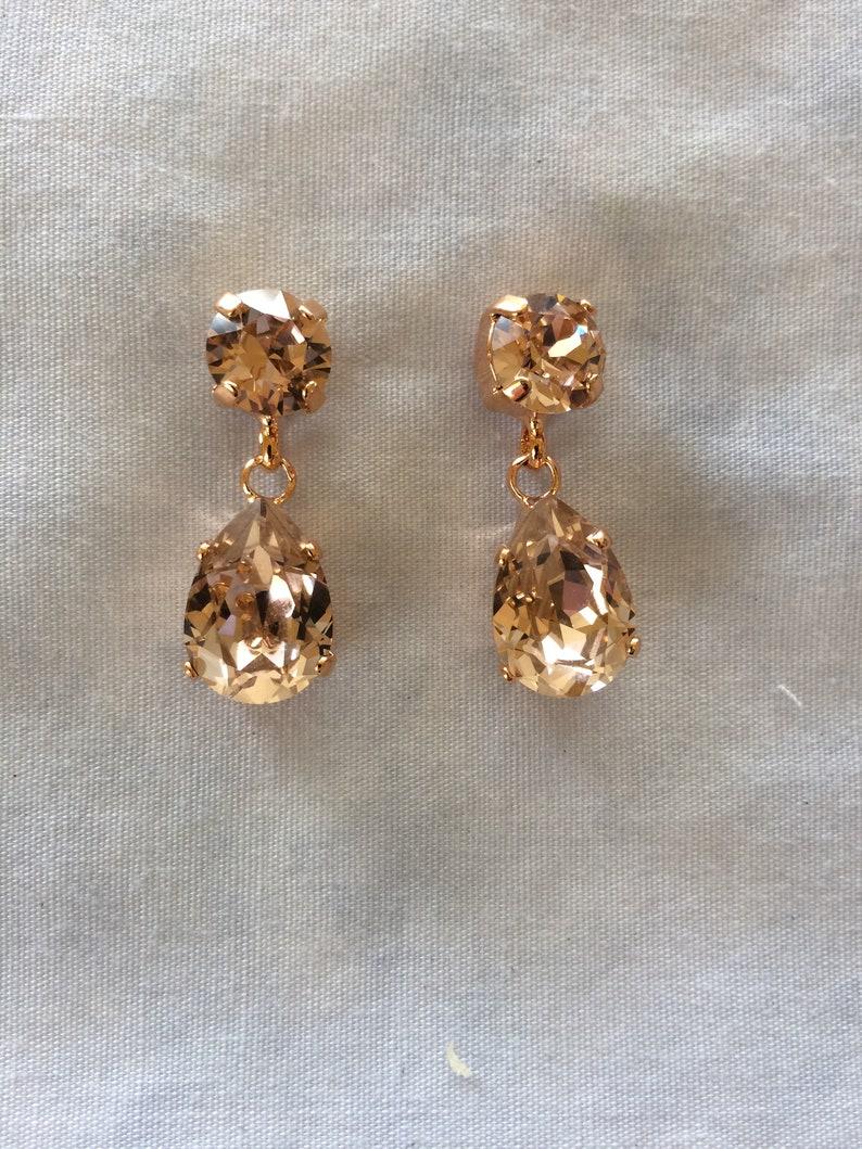 fd32b4261 Rose Gold Blush Swarovski Crystal Teardrop Earrings bridal | Etsy