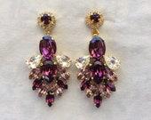 Swarovski Amethyst Statement Earrings, wedding earrings, gold bridal earrings, Purple teardrop earrings, diamond cut, chandelier earrings
