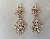 Rose Gold Swarovski Statement Earrings, wedding earrings, bridal earrings, teardrop earrings, diamond cut Crystal, chandelier earrings