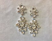 Clear Swarovski Crystal Statement Earrings, long wedding earrings, bridal earrings, teardrop earrings, diamond Crystal, chandelier earrings