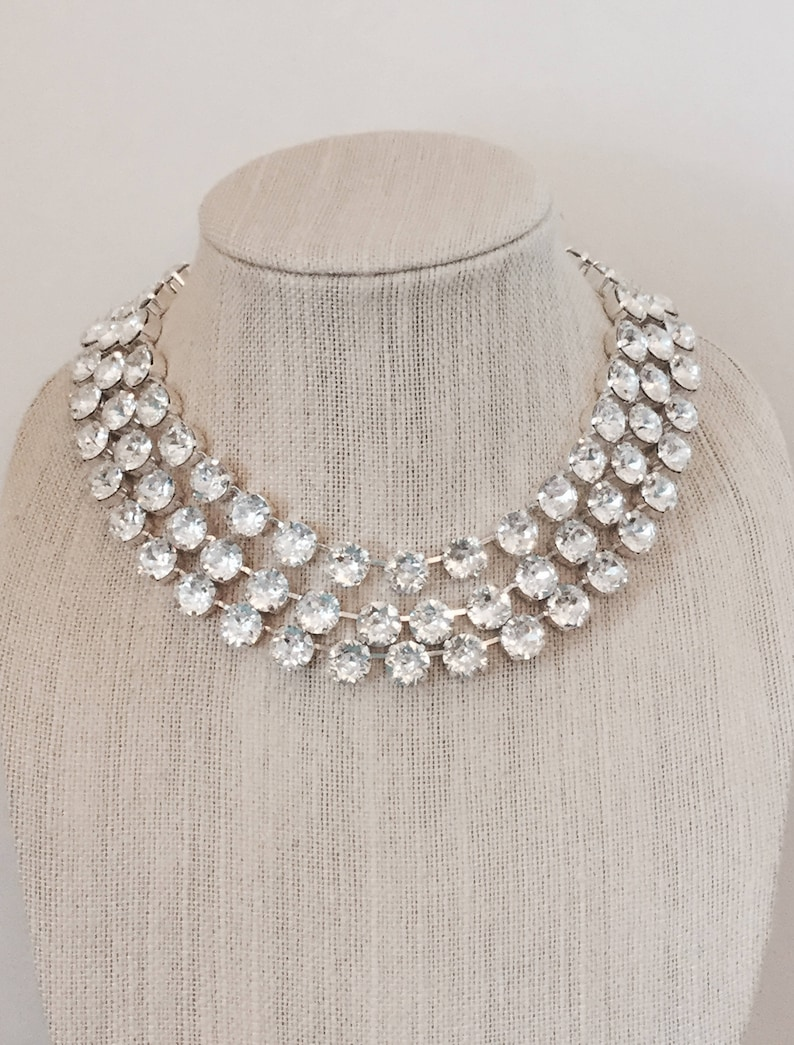 3 Strand Swarovski Crystal Choker Bridal Statement Necklace  9b6103249