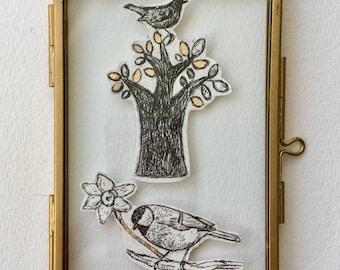 merel en koolmees drypoint etching