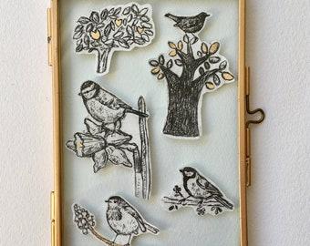 gardenbirds drypoint etching