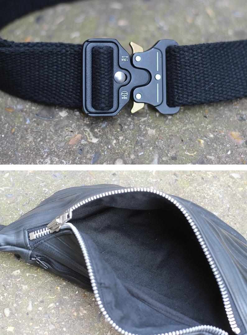 Recycled bike tire hip bag  upcycled bike inner tube waist bag