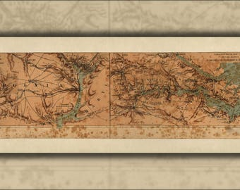 24x36 Vintage Reproduction Civil War Map of Orange County Virginia c1800/'s