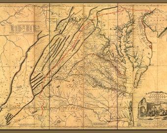 Items similar to 1710 Map of Virginia Maryland Carolina and Indian ...