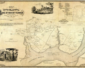 Poster, Many Sizes Available; Map Of George Washington Land Mount Vernon 1859