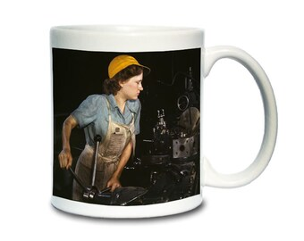 Coffee Mug; Factory Worker In 1942. This Was A Common Job Among Women At The Time. Fort Worth, Texas