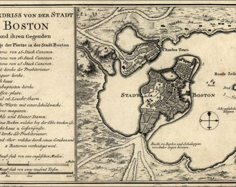 Poster, Many Sizes Available; Map Of Boston 1758 In German
