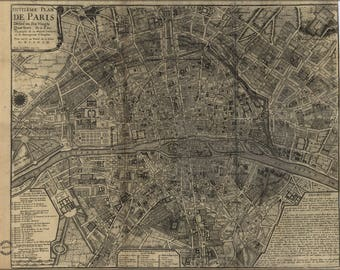 Poster, Many Sizes Available; Map Of Paris France 1705