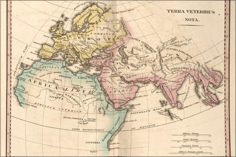 Karte Europa Asien.Plakat Viele Grossen Erhaltlich Karte Von Alten Europa Asien Afrika 1826