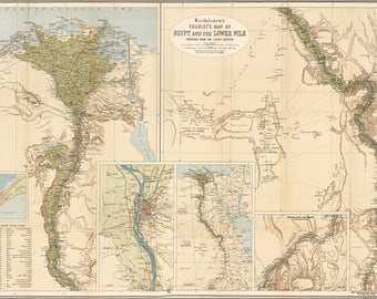 Poster, Many Sizes Available; Tourist Map Of Egypt & Lower Nile River 1897