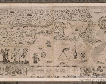 Poster, Many Sizes Available; New France Map (Samuel De Champlain, 1612). A More Precise Map Was Drawn By Champlain In 1632
