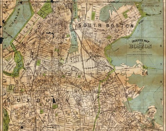 Poster, Many Sizes Available; Map Of Boston 1900