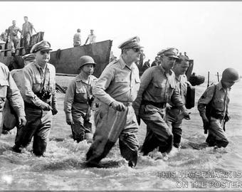 Poster, Many Sizes Available; General Douglas Macarthur Lands At Leyte, 1944