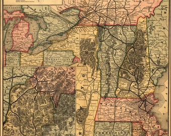 Poster, Many Sizes Available; Map Of Boston & Lowell Railroad New England 1890