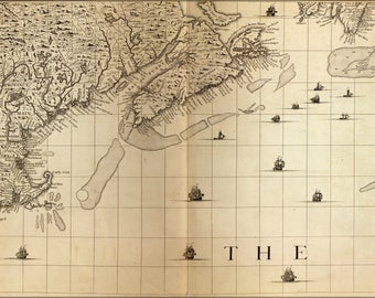 Poster, Many Sizes Available; Map Of New England, Nova Scotia 1733