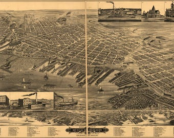 Poster, Many Sizes Available; Birdseye View Map Of Muskegon, Michigan 1889