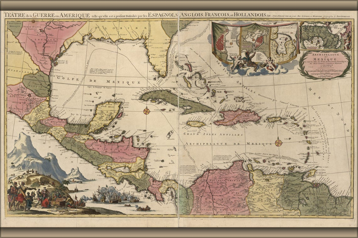 Poster Many Sizes Available Map Cuba Florida Mexico